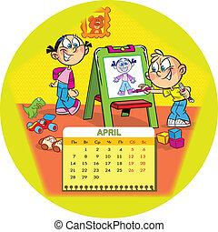 April - Calendar grid on April 2014 against the background ...