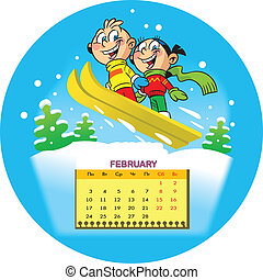 Calendar grid on February 2014 against the background of a funny drawing of children in the cartoon style. The illustration shows vacation children in the winter. Funny little boy and girl ride down the hills on skis. Illustration done on separate layers
