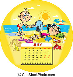 Calendar grid on July 2014 against the background of a funny drawing of children in the cartoon style. The illustration shows two children, who sunbathe on the beach sea. Boy scares jellyfish the girl . Illustration done on separate layers