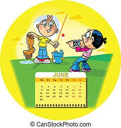 June - Calendar grid on June 2014 against the background of...