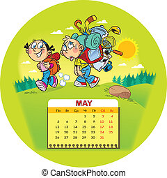 May - Calendar grid on May 2014 against the background of a ...