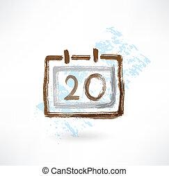 calendar grunge icon.