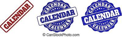 CALENDAR Grunge Stamp Seals - CALENDAR grunge stamp seals in...