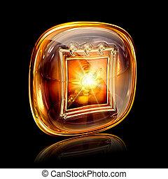 calendar icon amber, isolated on black background