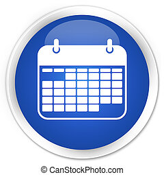 Calendar icon blue glossy round button