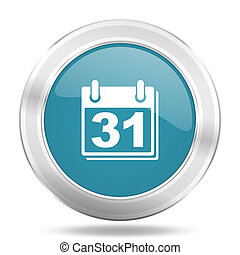 calendar icon, blue round glossy metallic button, web and mobile app design illustration
