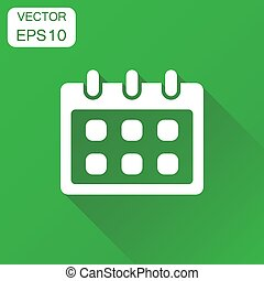 Calendar icon. Business concept reminder agenda sign pictogram. Vector illustration on green background with long shadow.