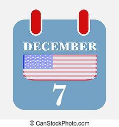 Calendar Icon December 7 with USA flag Vector illustration Eps 10