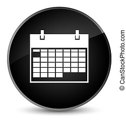 Calendar icon elegant black round button