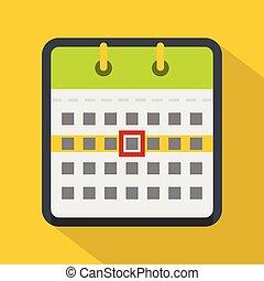 Calendar icon, flat style