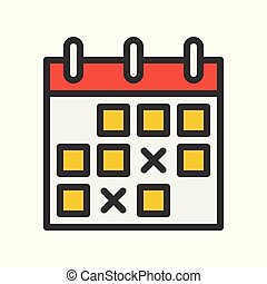 calendar icon, flat with outline design vector pixel perfect