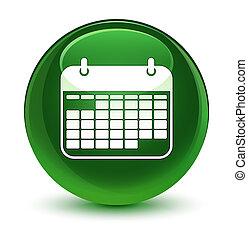 Calendar icon glassy soft green round button