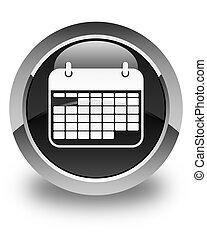 Calendar icon glossy black round button