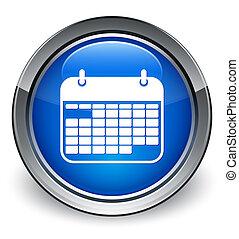 Calendar icon glossy blue button