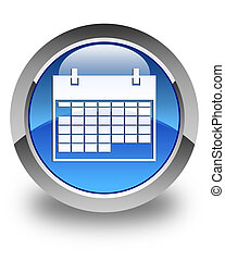 Calendar icon glossy blue round button 2