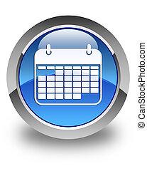 Calendar icon glossy blue round button