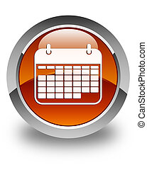 Calendar icon glossy brown round button