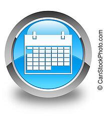 Calendar icon glossy cyan blue round button