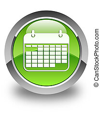 Calendar icon glossy green round button