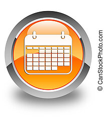 Calendar icon glossy orange round button
