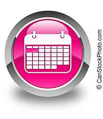 Calendar icon glossy pink round button
