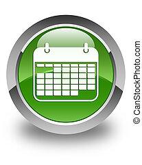 Calendar icon glossy soft green round button