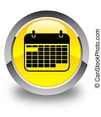 Calendar icon glossy yellow round button