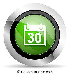 calendar icon, green button, organizer sign