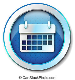 Calendar icon - Illustration metallic icon for web isolated,...