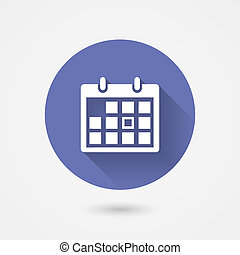 Calendar icon in a circular blue surround conceptual of time management organization schedule appointments and important events vector icon with shadow