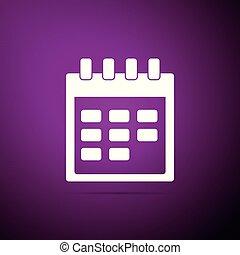 Calendar icon isolated on purple background. Flat design. Vector Illustration