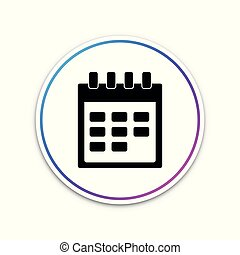 Calendar icon isolated on white background. Circle white button. Vector Illustration
