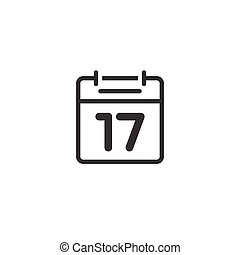 Calendar icon line vector isolated, outline black and white flat