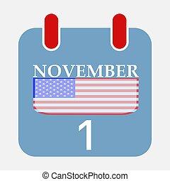 Calendar Icon November 1 with USA flag Vector illustration Eps 10