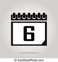 Calendar icon number 6 vector illustration