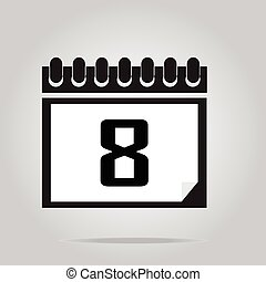 Calendar icon number 8 vector illustration