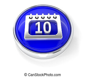 Calendar icon on glossy blue round button