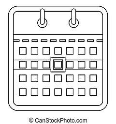 Calendar icon, outline style.