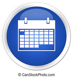 Calendar icon premium blue round button