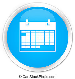 Calendar icon premium cyan blue round button