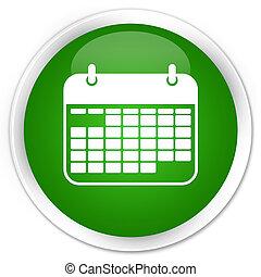 Calendar icon premium green round button