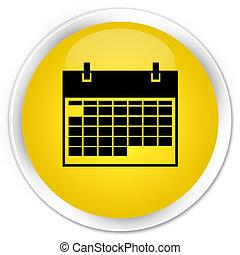 Calendar icon premium yellow round button