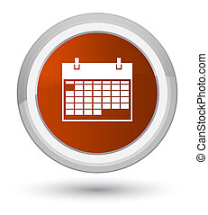 Calendar icon prime brown round button