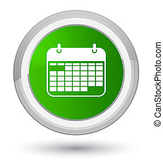 Calendar icon prime green round button