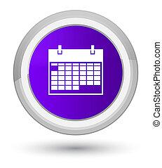 Calendar icon prime purple round button