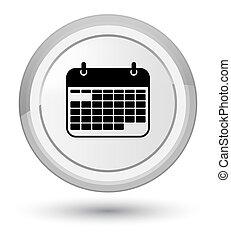 Calendar icon prime white round button