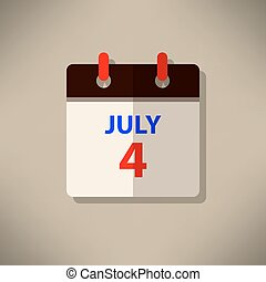 Calendar icon vector 4th of july independent day festival Happy Memorial Day background