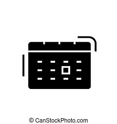 calendar icon, vector illustration, black sign on isolated background