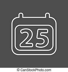 Calendar icon vector. Simple calendar with date 25.