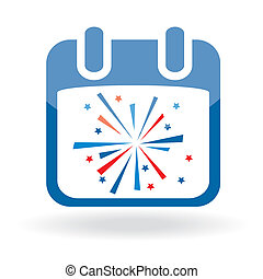 Calendar icon with firework